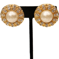 Arnold Scassi Faux Gold-tone Pearl & Rhinestone Earrings/Ring 1980s