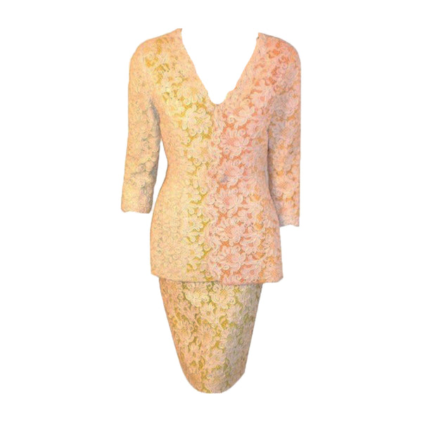 BOB MACKIE Circa 1980s Lace Embroidered Skirt Suit