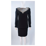 BOB MACKIE Black Skirt Suit Ensemble w/ Sheer Accents Size 6