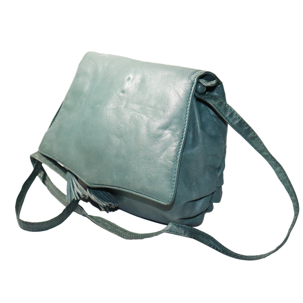 Bottega Veneta Green Crossbody Shoulder Bag w/ Tassles