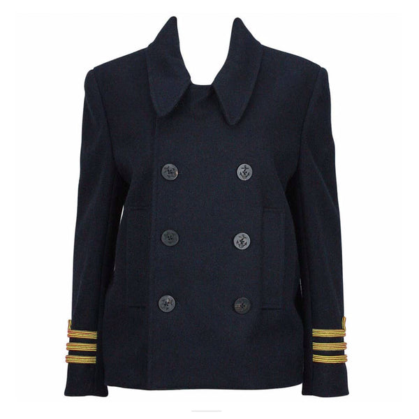 BALENCIAGA Navy Sailor Peacoat with Yellow Rope Trim