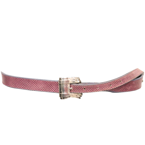 Barry Kieselstein Cord Lizard Skin Pink & Purple Belt W/ Sterling Silver