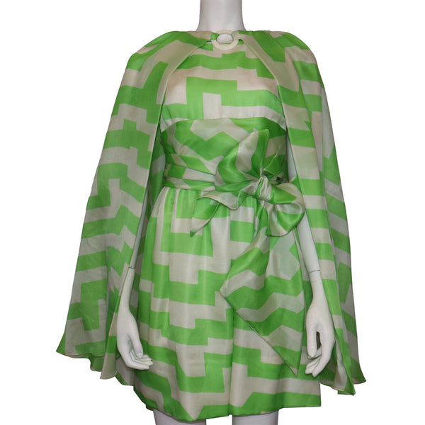 Bill Blass White & Green Silk 2 PC Dress Circa 1960s