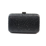 Elizabeth Mason Couture 'Small' Black Rhinestone Evening Clutch with Long Chain
