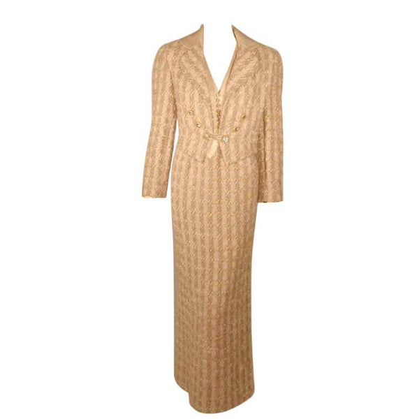 BOB MACKIE 2 pc Beige Silk and Tweed Jacket and Dress Set