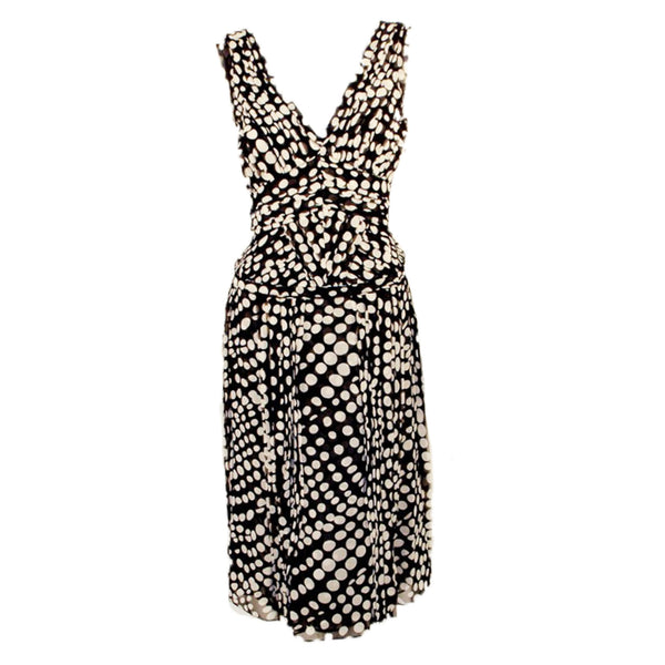 CAROLINA HERRERA Black & White Polka Dot Silk Chiffon Dress Size 8
