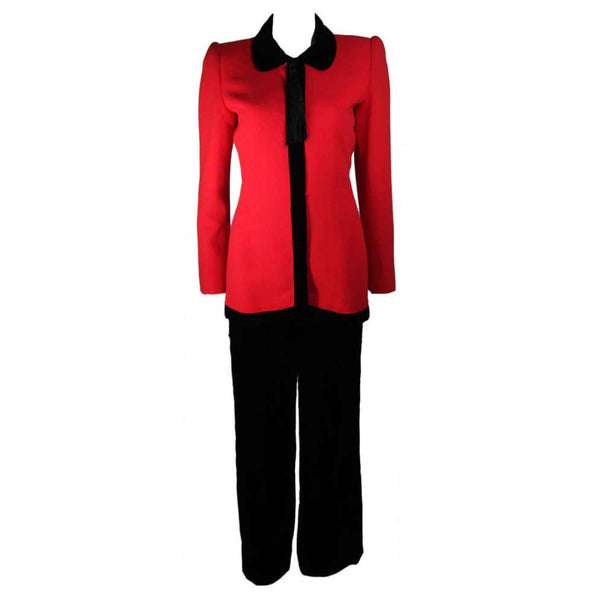 CAROLINA HERRERA Red Wool & Velvet Pant Suit Size 4