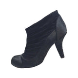 CATHERINE MALANDRINO Black Faux Fur and Suede Ruched Bootie Size 40