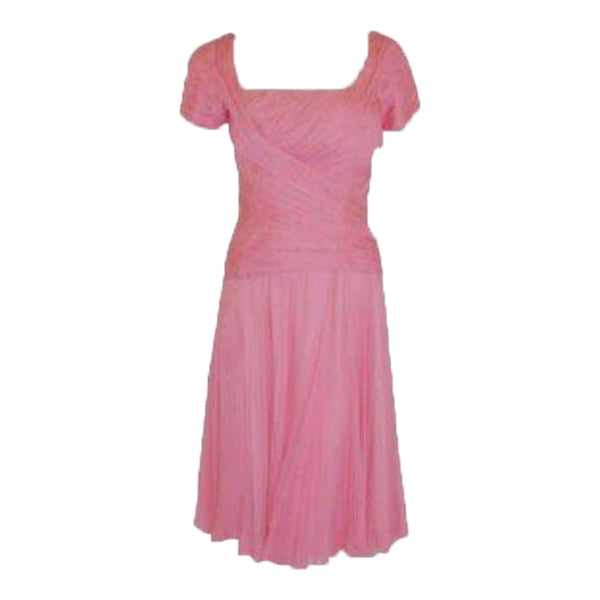 CEIL CHAPMAN 1960s Pink Chiffon Draped Pin Tucked Bodice Cocktail Dress