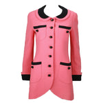 CHANEL Circa 1990s Pink & Black Trim Tulip Jacket or Mini-Dress