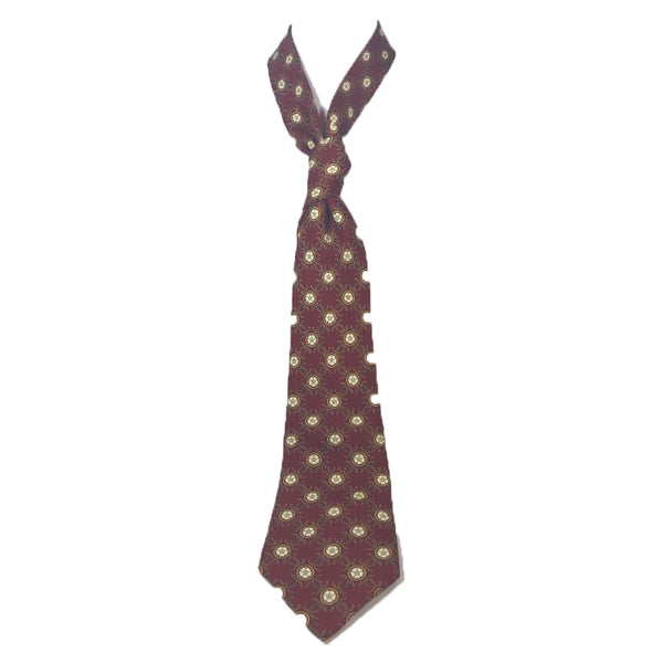CHANEL Maroon, Yellow Flowers & Chanel Chain Logo Neck Tie