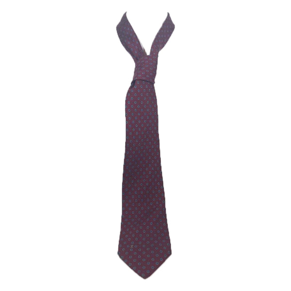 CHANEL Navy and Maroon Striped Neck Tie with Gold Chain Chanel