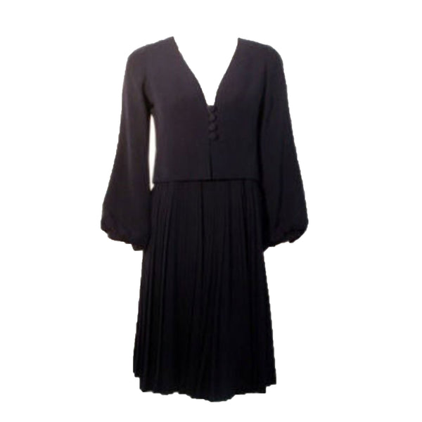 "CHRISTIAN DIOR 1964 2 piece Navy Dress Suit Size 4 This is a ""one of a kind"" 2pc navy blue dress and coat set by Christian Dior Haute Couture from 1964. The dress is attatched to the coat with two snaps in the front. The coat has bell sleeves and four front buttons"