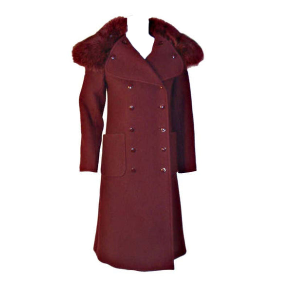 CHRISTIAN DIOR 1971 3 pc Burgundy Wool Coat Set. This is an Haute Couture three 4 piece ensemble by Christian Dior Haute Couture, from the winter collection 1971. It includes a burgundy wool double breasted coat with two front open square pockets, fox fur collar, and suede belt