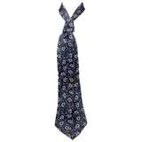 CHRISTIAN DIOR Blue Silk, Floral Pattern Neck Tie Size 56 in.