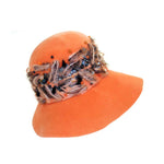 "MeasurementsCHRISTIAN DIOR Chapeaux Orange Floppy Hat w/ Feathers, Yarn, & Beads.:21"" (size 6 3/4)Depth about 6 inches3 3/4"" brim"
