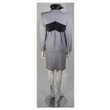 CAROLINA HERRERA Black & Gray Wool Skirt Suit Ensemble Size Small