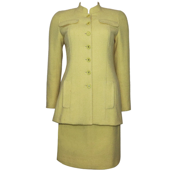 Chanel 2PC Yellow Skirt Suit w/ Mandarin Collar Circa 1990s