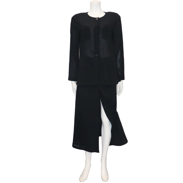 Chanel Black Wool Jacket w/ 4 Pockets & Button Down Skirt 2PC Circa 1990s