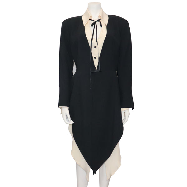 Claude Montana Drape 2PC Black Jacket w/ Cream Blouse Circa 1990s