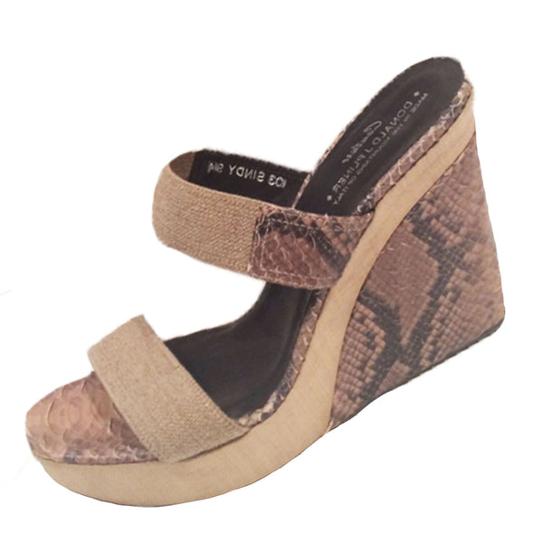DONALD J PLINER Taupe Snake Skin and Canvas 'SINDY' Slide Wedges Style Size 40