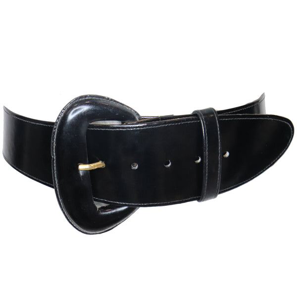 Donna Karan Black High Gloss Box Leather Belt w/ Oval Buckle Circa 1990s