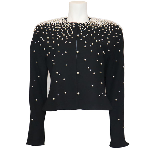 David Hayes Black Jacket w/ Pearls & Rhinestones Circa 1990s
