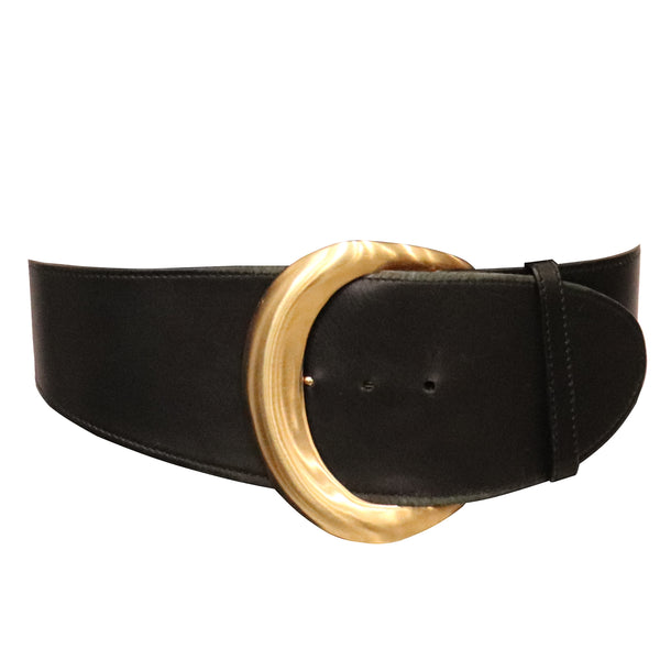 Donna Karan Black Leather Belt W/ Gold tone Buckle