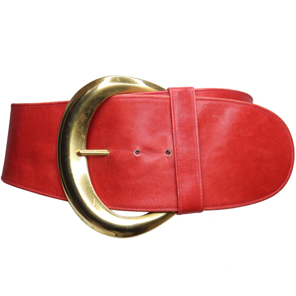 Donna Karan Red Leather w/ Goldtone Buckle Circa 1990s