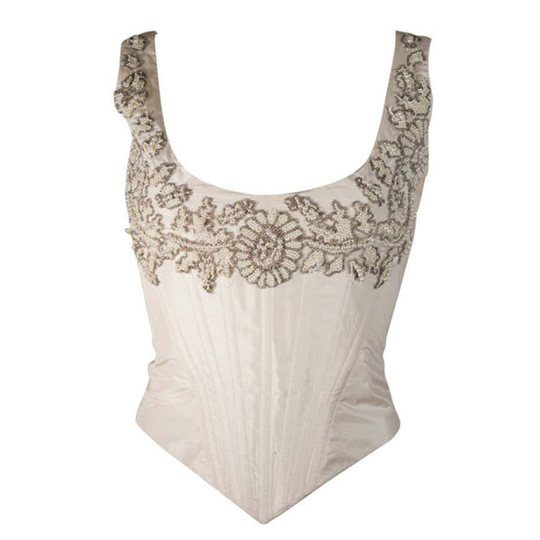 EAVIS & BROWN London Beaded Cream Silk Corset Bustier Size M