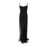 "This is an incredible black silk jersey ""No Strings Attached"" gown, by Elizabeth Mason Couture. The gown is fitted to the body with loose flowing ""strings"", and braided detail.  This is a custom made gown. It can be made in any size, color, or fabric. Couture orders take approximately forty five days from design to fittings completion."