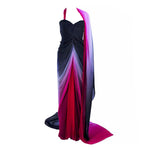 ELIZABETH MASON COUTURE 'Siren' Black to Pink Ombre Drape Gown