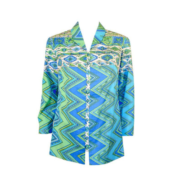 "EMILIO PUCCI 1970s Mint Green & White Cotton Print Jacket. Made exclusively for Saks Fifth Avenue by Emilio Pucci Italy. Comprised of a blue, green and white abstract print cotton, with the signature ""Emilio"" throughout the pattern. The front closure snaps all the way down on a separate panel. There is no lining.Size: 12Measurements: Bust: 38""Sleeve: 21""Shoulder to shoulder: 17""Length: 26"""
