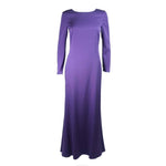 This Emilio Pucci gown is composed of a radiant soft purple silk. The classic long sleeve style is modernized with an exquisite open back. There is a side zipper closure and center back top button. In excellent condition.
