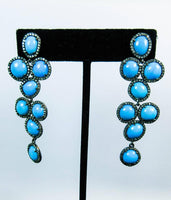 TURQUOISE and Silver Earrings with 14 Karat Gold Post Accents