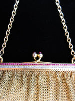 VINTAGE Ruby Diamond Cabochon Clasp Yellow Gold Evening Purse