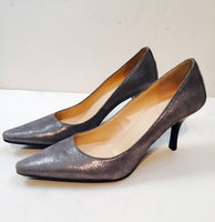 CALVIN KLEIN Silver Metallic Suede Heels with Leather Tan Padded Insole Size 6