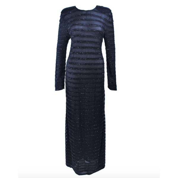 GIORGIO ARMANI Black Beaded Sheer Mesh Gown Size 42. This Giorgio Armani gown is composed of a beaded sheer mesh. There is a center back zipper closure. In excellent vintage condition