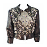 GIORGIO ARMANI Bronze Jacket with Beaded Embroidery Size 44. This Giorgio Armani jacket is composed of a bronze fabric with bead applique and embroidery. There are center front button closures. In excellent vintage condition.