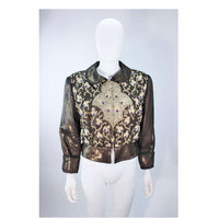 GIORGIO ARMANI Bronze Jacket with Beaded Embroidery Size 44
