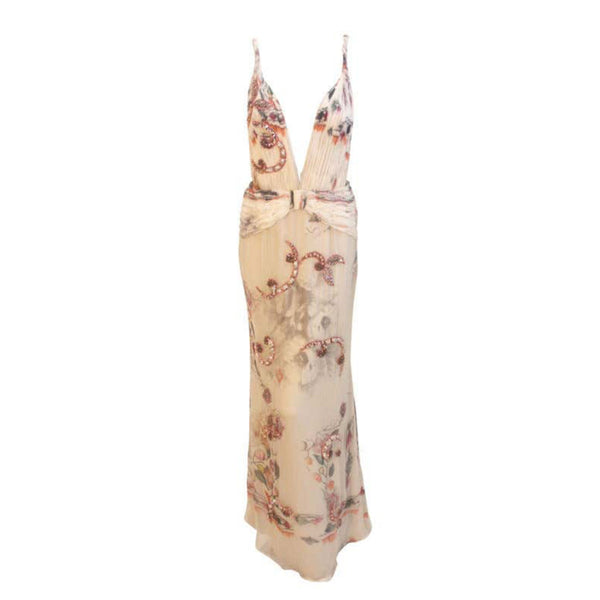 "This is an elegant floral print chiffon gown with silver and pink rhinestones by Giorgio Armani, from the 1990's. The gown has a very deep ""V"" in the front, a zipper up the side, open back, twisted straps, and gathering at the hip and on the bust panels."