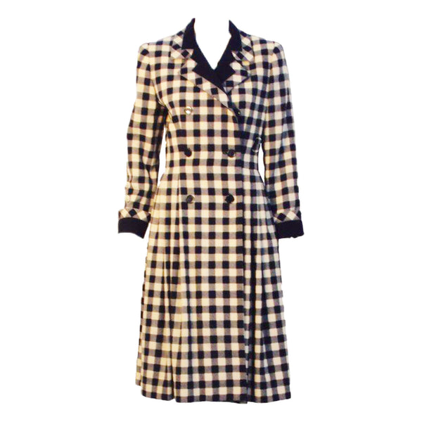 GIVENCHY 1980s  Navy and Cream Plaid Wool Fitted Flared Coat Dress