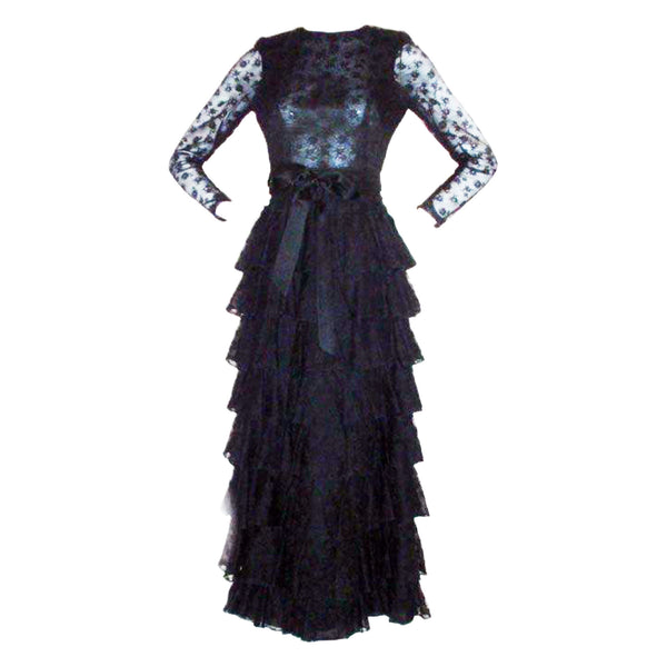 GIVENCHY Couture Black Lace Tiered Gown with Bow at Waist