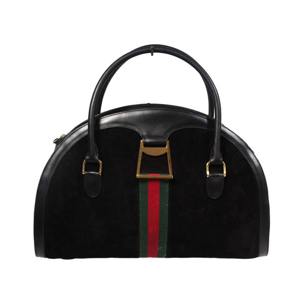 GUCCI Black Leather Suede Purse w/ Gold Hardware