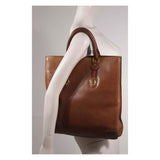 GUCCI Brown Leather Tote with Horse Shoe