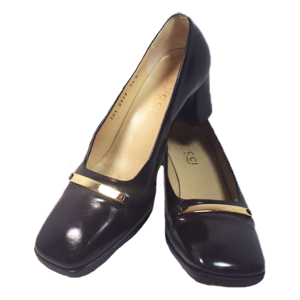 GUCCI Brown Patent Leather Gold Logo Block Heel With Box Size 7 1/2