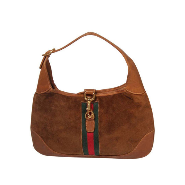 GUCCI Large Brown Suede Hobo with Gold Hardware