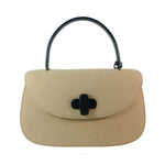 GUCCI Tan Wool Purse. This Gucci tan wool purse features a black bar closure, black leather handle, and attached leather tag. Measurements in Inches: Height: 7 Width: 11 Length: 3 Handle: 12