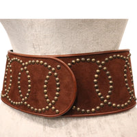 Galanos Large Brown Wide Belt With Bronze Studs