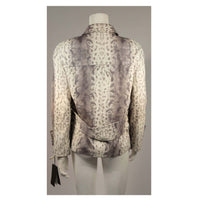 GUCCI Snake PrintLeather Double Breasted Button Front Jacket 38